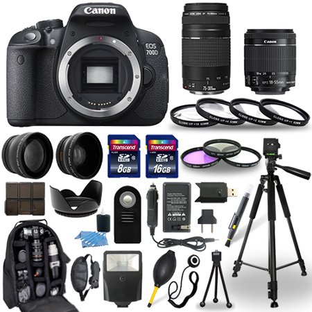 Canon EOS 700D DSLR Camera + 18-55mm + 75-300mm + 30 Piece Accessory Bundle