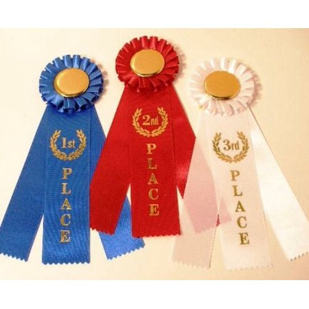 Rosette Award Ribbon Set 1st, 2nd, 3rd {1 of each = 3 total ribbons}, Most popular ribbon set By Rosette Ribbon Diploma Mill Award Ribbon