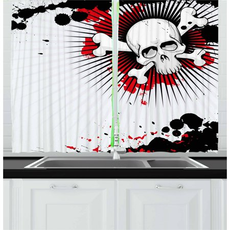 Halloween Curtains 2 Panels Set, Skull with Crossed Bones over Grunge Background Evil Scary Horror Graphic, Window Drapes for Living Room Bedroom, 55W X 39L Inches, Pearl Red Black, by Ambesonne