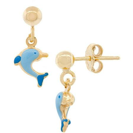 Blue Dolphin Earrings - 18kt Gold-Plated Sterling Silver Blue Dolphin Enamel Kids' Earrings