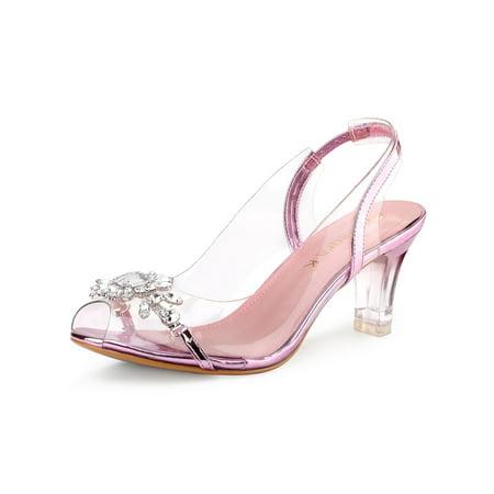 Rhinestone Slingback - Women's Clear Slingback Flower Rhinestone Heel Sandals Pink (Size 9.5)