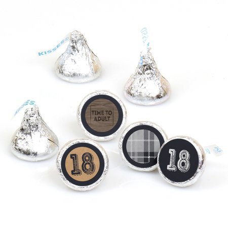 18th Milestone Birthday - Round Candy Sticker Favors - Labels Fit Hershey's Kisses (1 sheet of 108) - 18th Birthday Favors