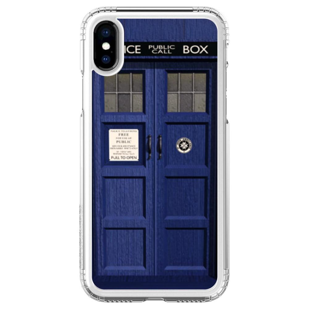 "SaharaCase iPhone X / XS (5.8"" Screen) Clear Shockproof Custom Case By DistinctInk - Protective Kit & ZeroDamage Screen Protector - London Police Call Box TARDIS"