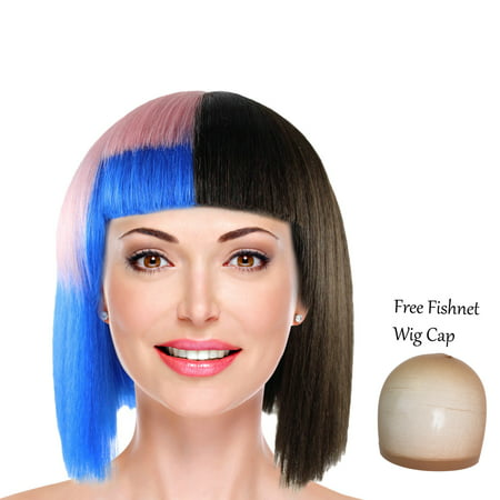 Halloween Theme Orchestra (Short Bob Wig with Bangs Colorful Hair Wigs for Cosplay Costume Theme Party)
