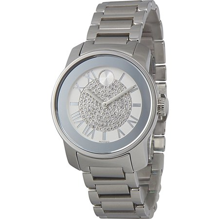 Bold Silver Crystal Pave Dial Ladies Watch 3600254
