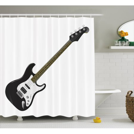 Guitar Shower Curtain, Bass Four String Rhythm Music Rock and Roll Element Detailed Illustration, Fabric Bathroom Set with Hooks, 69W X 70L Inches, Black White Caramel, by Ambesonne