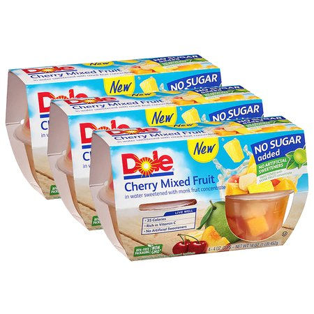 Mixed Fruit - (3 Pack) Dole Fruit Bowls, No Sugar Added Cherry Mixed Fruit, 4 Ounce (4 Cups)