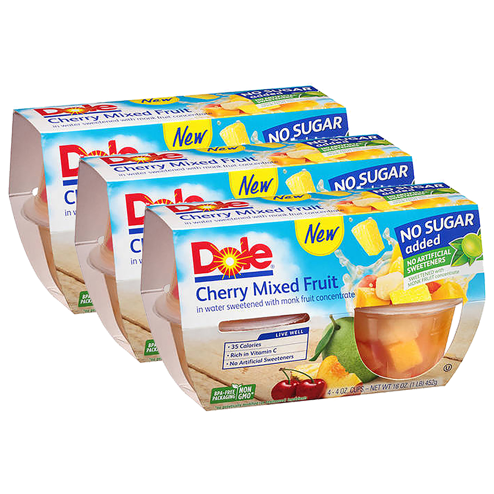 (3 Pack) Dole Fruit Bowls, No Sugar Added Cherry Mixed Fruit, 4 Ounce (4 Cups)