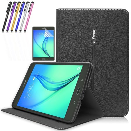 Galaxy Tab A 9.7 Case, Mignova Premium PU Leather Folio Case Smart Cover with Auto Sleep / Wake for Samsung Galaxy Tab A 9.7 Inch SM-T550 SM-P550 + Screen Protector Film and Stylus Pen (Black) Gold Reinforced Black Leather Tab