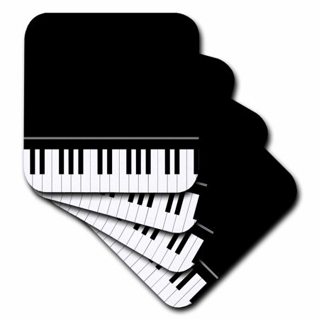 3dRose Black piano edge - baby grand keyboard music design for pianist musical player and musician gifts, Soft Coasters, set of 4 Player Gift Set