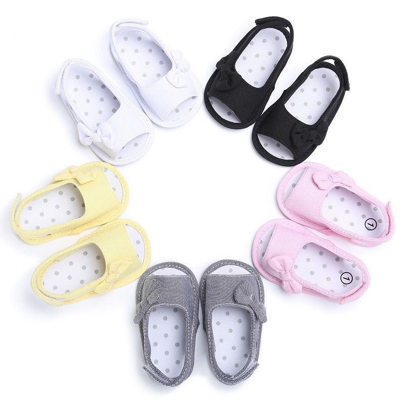 Evansamp Infant Baby Girl Soft Sole Anti-Slip Shoes Bowknot Floral Print Casual Sandals Toddler Crib Shoes