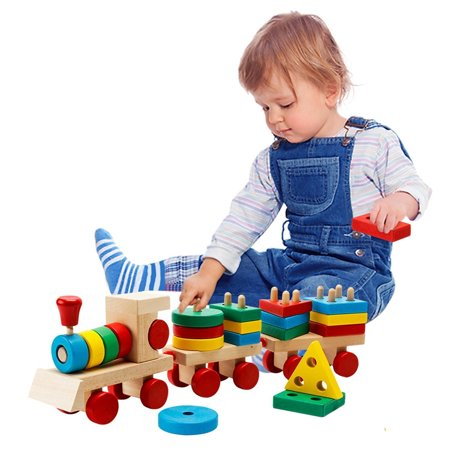 Wooden Building Blocks Stacking Train Peg Puzzles Games Toddlers Educational Baby Kid Children Boy Girl Development Toys Gift - image 5 de 12