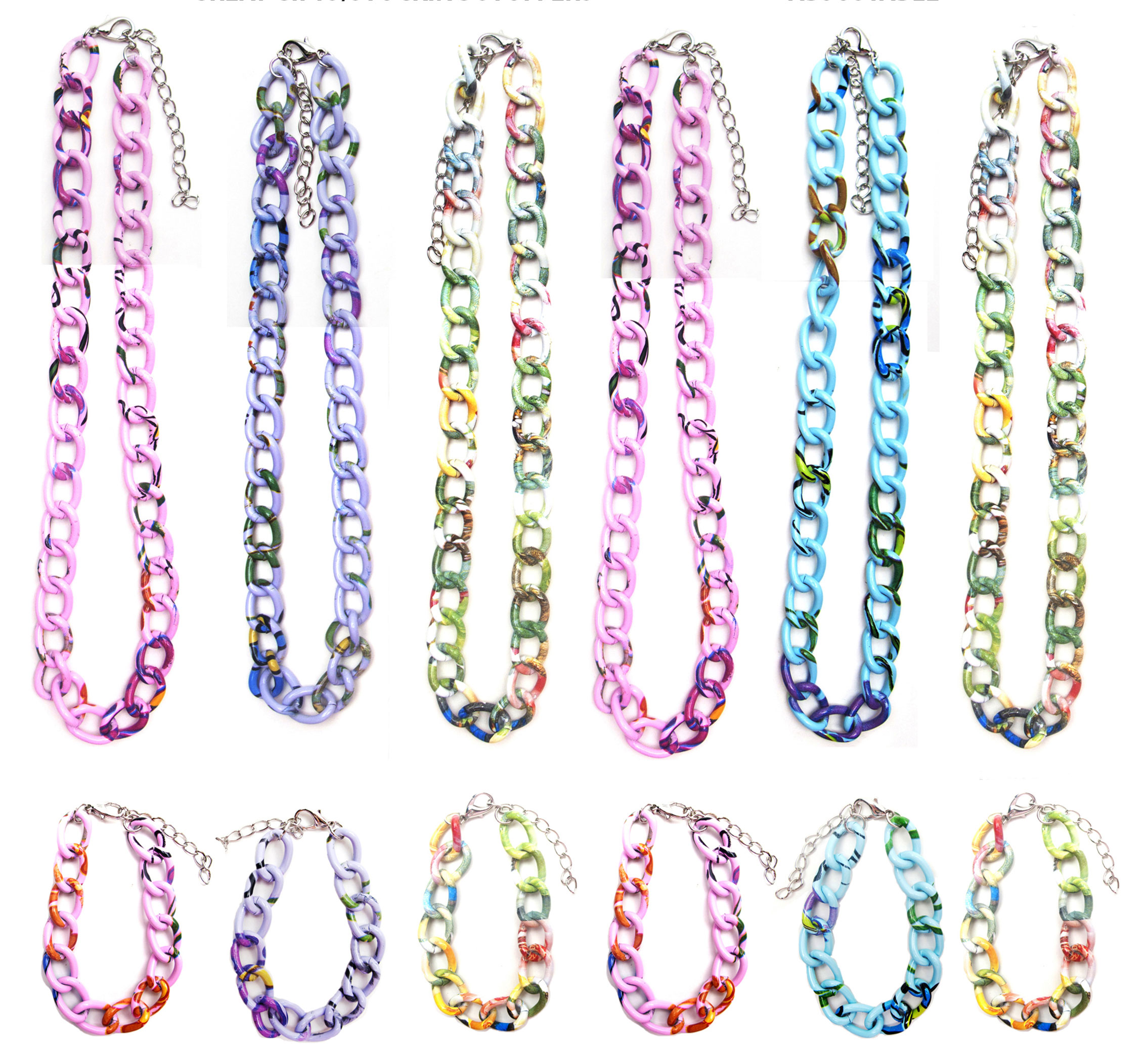 Frogsac 12 Pieces Floral Print Metal Link Chain Necklaces & Bracelets Great assortment for all ages