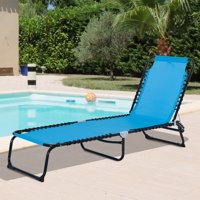 3-Position Portable Reclining Beach Chaise Lounge Outdoor Adjustable Sleeping Bed