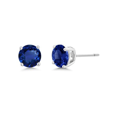 2.00 Ct 925 Silver Round Cut Simulated Blue Sapphire Stud Earrings 6MM