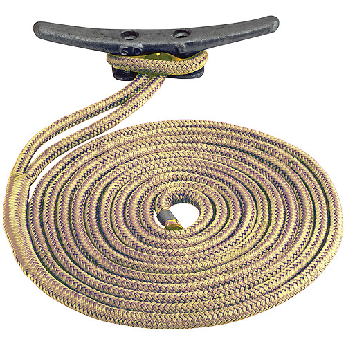 "Click here to buy Sea Dog Dock Line, Double Braided Nylon, 1 2"" x 15', Gold White by Sea Dog."