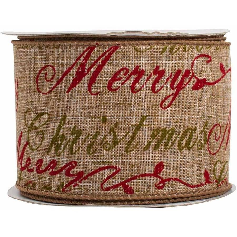 "JAM Paper Wire Edged Christmas Ribbon, 2-1/2"" x 10 yds, Natural Brown Merry Christmas, Sold Individually"