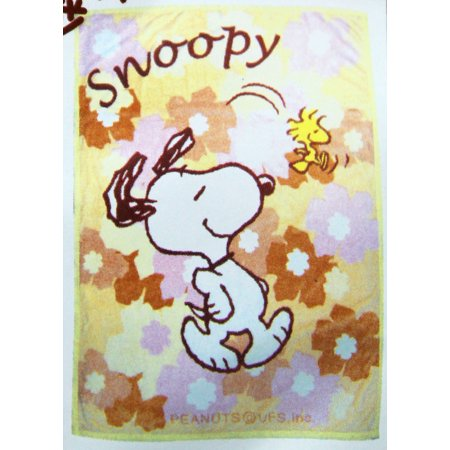 Snoopy and Woodstock Graceful Spring Stroll Floral Throw Blanket