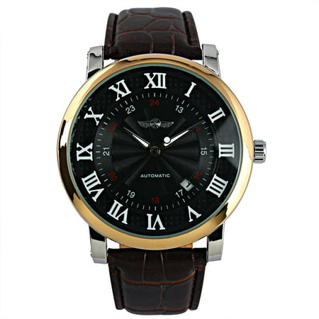 Mechanical Automatic Self Winding Watch Black Dial Roman Numberials (Automatic Winding Mechanical Watch)