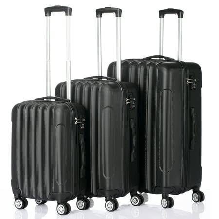 "Veryke 3 Piece Traveling Luggage Sets, Suitcase Set of 3 - 20"" 24"" 28"" - Black"