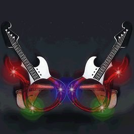 Guitar LED Sunglasses Red by, Fun! By blinkee - Guitar Sunglasses