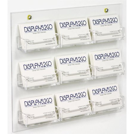 10 Pocket Clear Book Display (Set of 10, Clear Acrylic Business Card Holder, Wall Mounted, with 9 Pockets, Open Face Literature Display Rack)