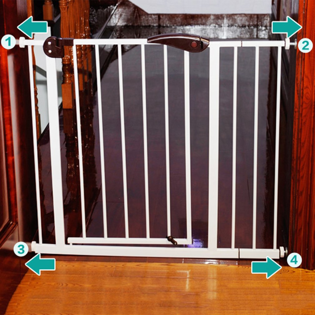 Baby Safety Gate Stairs Safety Door Walk Through Child Toddler Pet  Protective Fence Metal Easy Locking