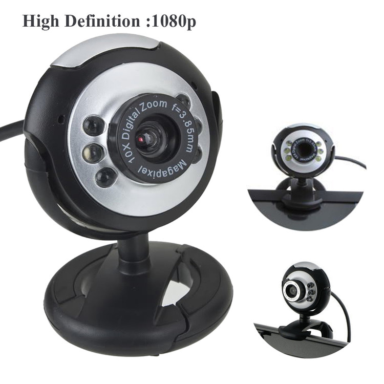 HD 6 LED Digital 5.0 Mega 180 Degree Webcam Web Cam Camera With Mic For Computer PC Laptop