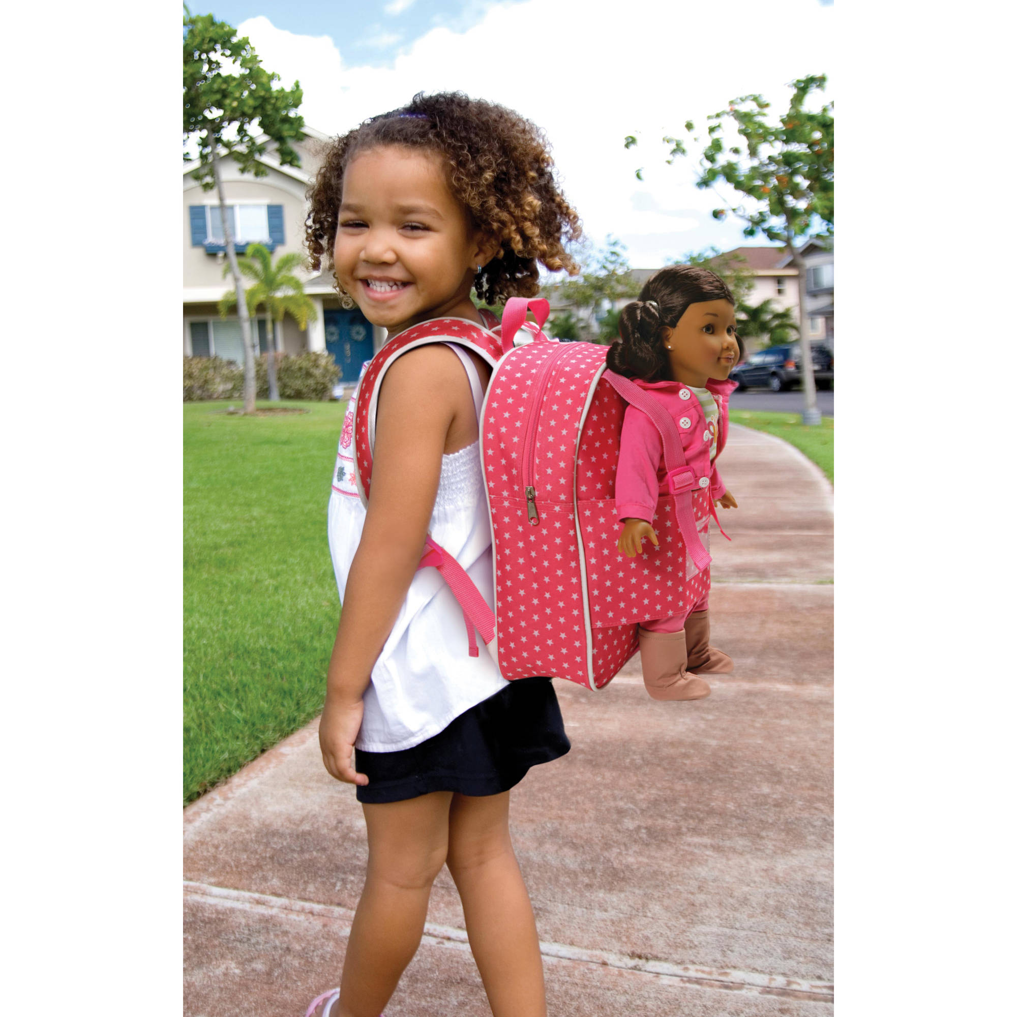 Badger Basket Doll Travel Backpack, Star Pattern, Fits American Girl Dolls & My Life As