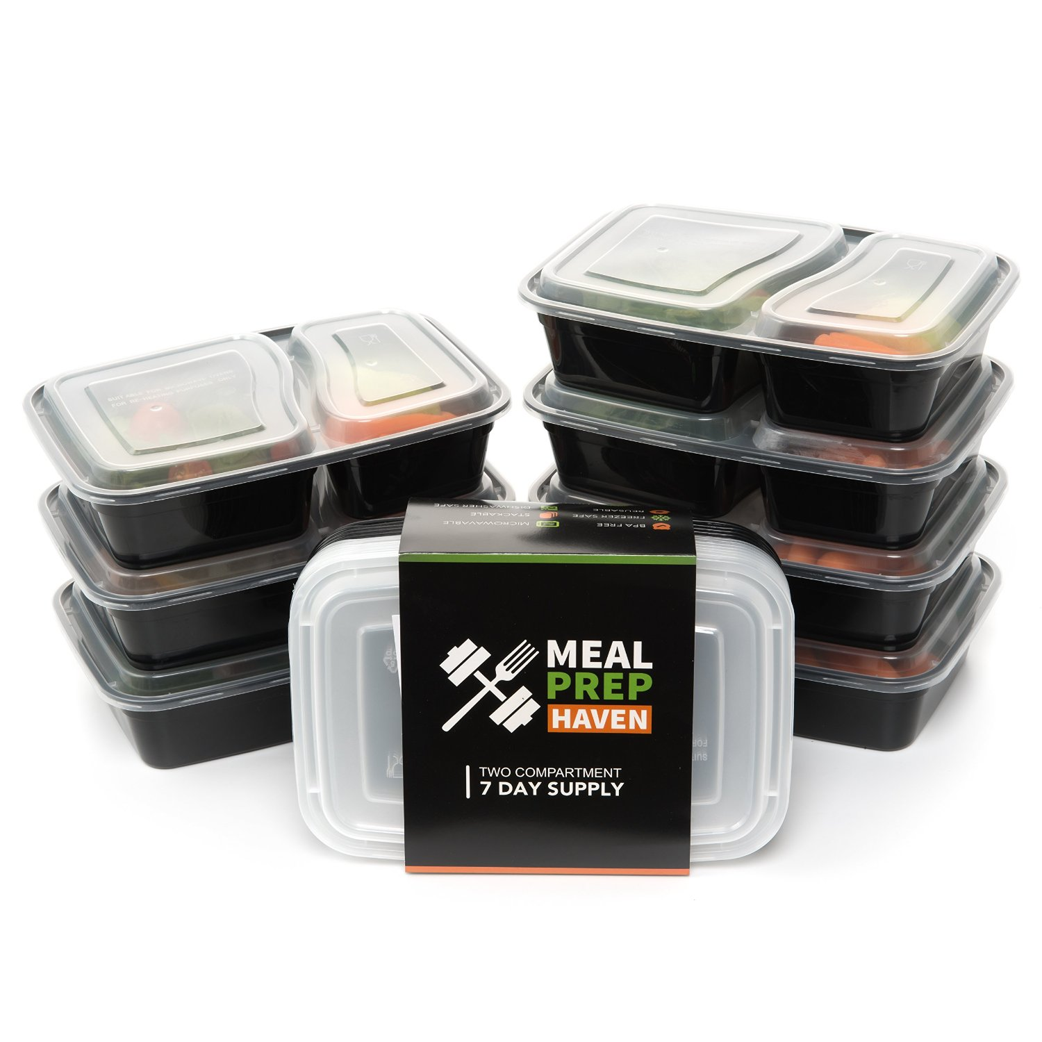 Meal Prep Haven - 7 pack - 2 Compartment Food Storage Containers with Lids, Reusable, Freezer Microwave & Dishwasher Safe, Bento Lunch Box, Stackable, BPA Free, Leak Proof, 17 oz