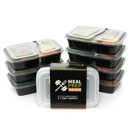 meal prep haven 7 pack 2 compartment food storage containers with lids reusable freezer. Black Bedroom Furniture Sets. Home Design Ideas