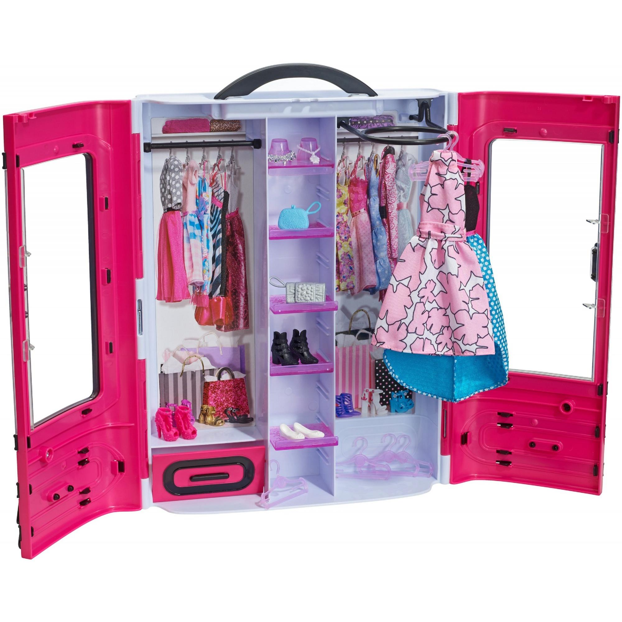 Barbie Fashionistas Ultimate Portable Closet, Pink with 15+ Pieces