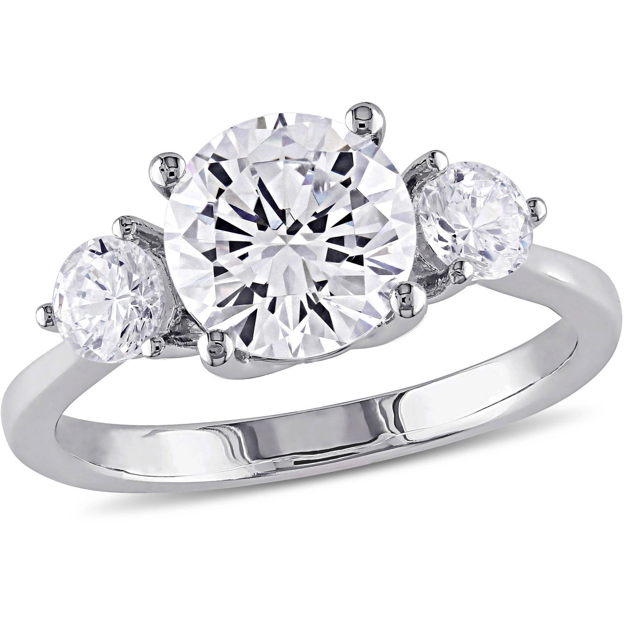 Miabella 4-1/3 Carat T.G.W. CZ Sterling Silver Three-Stone Engagement Ring