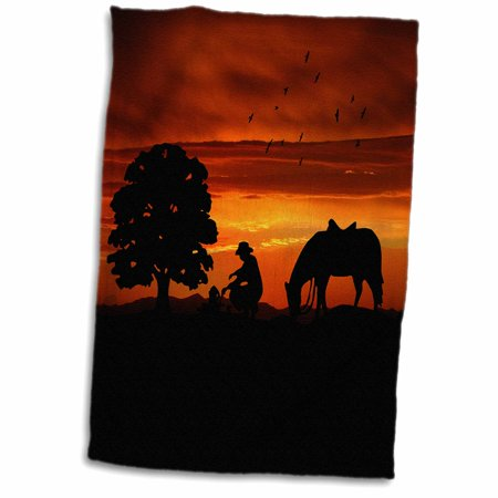 3dRose Cowboy Campfire with Horse on a Hill at Sunset has a Western feel. - Towel, 15 by 22-inch