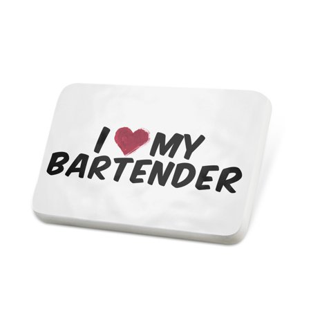Porcelein Pin I heart love my Bartender Lapel Badge – NEONBLOND - Love Boat Bartender
