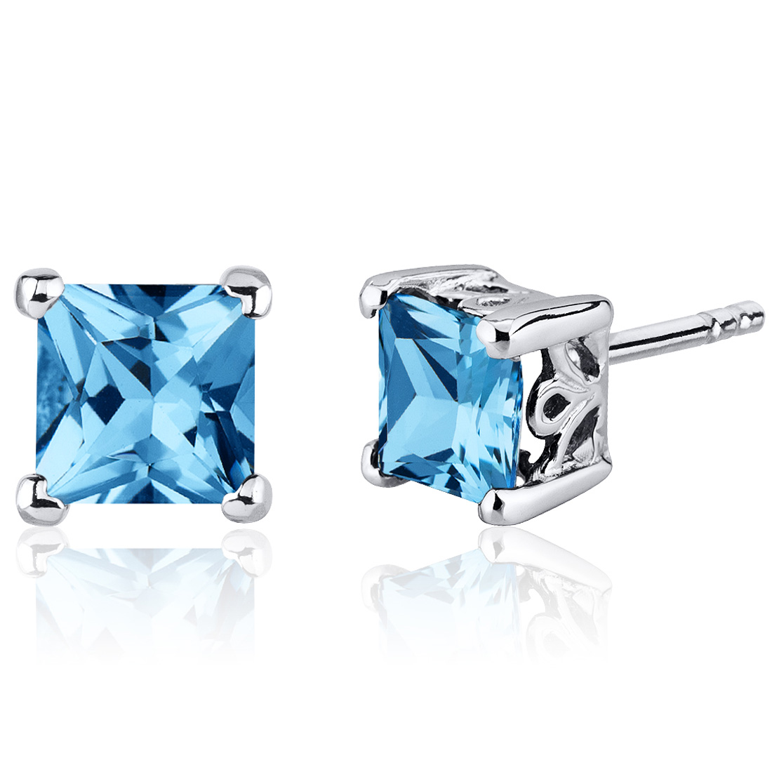 Peora 2.50 Ct Princess Cut Swiss Blue Topaz Sterling Silver Stud Earrings Rhodium Finish