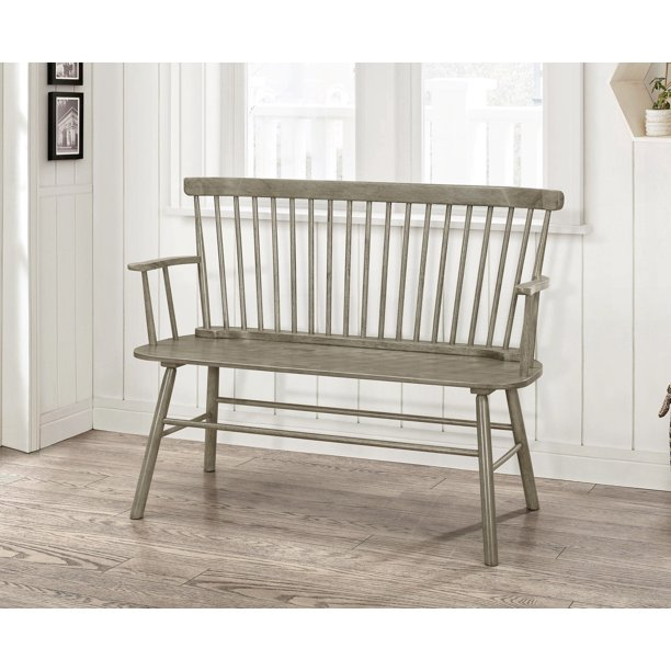 Jerimiah Entryway Spindleback Bench, Rustic Gray