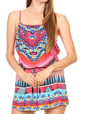 bd099c45a2c303 Product Image Sakkas Sade Colorful Sleeveless Short Romper with Pockets and  Rhinestones - 17236-Pink-red