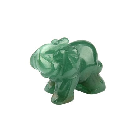 1Pcs Hand Carved Elephant Jade Gemstone Ornament Craft Paperweight