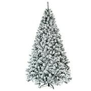 Costway 7.5ft Snow Flocked Hinged Christmas Tree Unlit Metal Stand