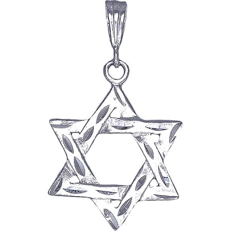Sterling Silver Star of David Pendant Necklace with Diamond Cut Finish and 24 Inch Figaro (Diamond Cut Star Pendant)