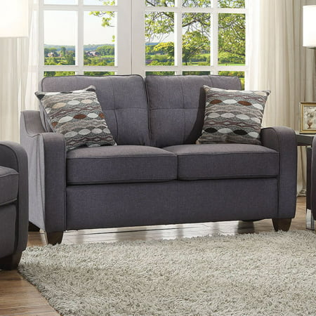 ACME Cleavon II Loveseat with 2 Pillows, Gray Linen ()