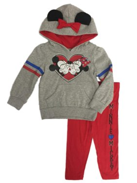 Disney Toddler Girls Mickey & Minnie Kissing Heart Hoodie & Legging Outfit