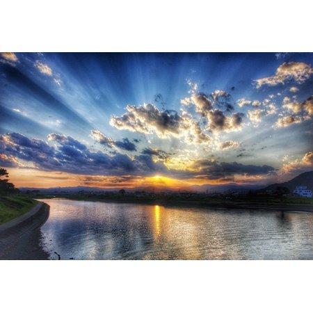 Sparkle Paper Cloud 9 Design (Canvas Print Cloud Japan Sparkling Sunset Sky Landscape Stretched Canvas 10 x 14)