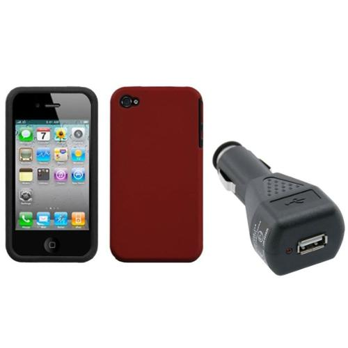 Insten Red Fusion Case (Rubberized) For iPhone 4/4S + USB Car Charger Adapter