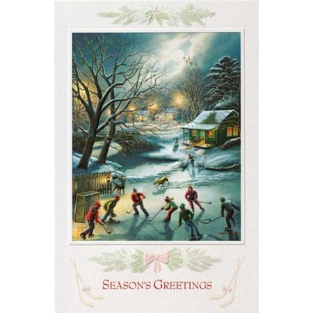Pack of 16 country ice hockey fine art embossed deluxe christmas pack of 16 country ice hockey fine art embossed deluxe christmas greeting cards m4hsunfo