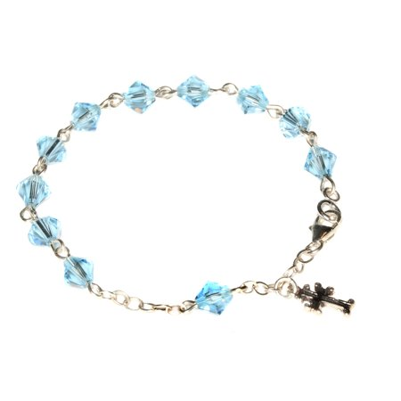 4f9ca48c54 Rosaries4U - Sterling Silver Child Rosary Bracelet made with Aquamarine  Blue Swarovski Crystals (March) - Walmart.com