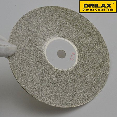 Drilax High Density Diamond Coated Wheel Disc 6 Inch Diameter GRIT 60 with Arbor Size 1/2 inch  Flat Lap Lapping Lapidary  Glass - Jewelry - Polishing Tool Grinding Sharpening Metal Back Professional