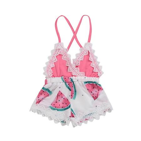 9595db0d62d2 Newborn Infant Baby Girls Romper Lace Straps Backless Bodysuit Watermelon  Summer Outfit