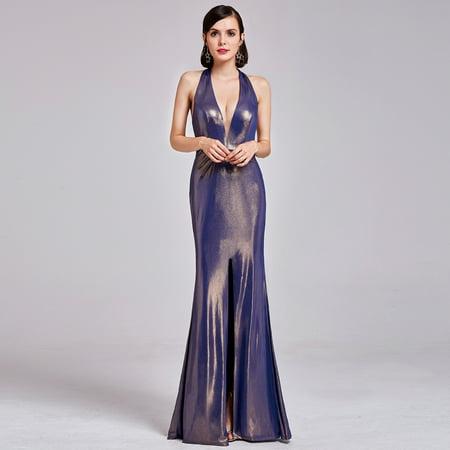 Sexy Metal (Ever-Pretty Women's Sexy Halter Neck Floor Length Metallic Evening Dresses for Women 07206 (Gold 4 US) )